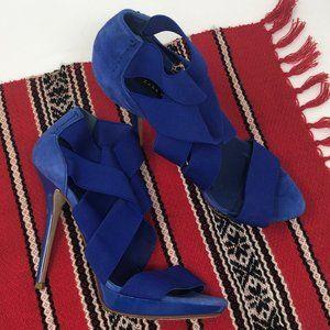 Zara Electric Blue Elastic Strappy Stilettos 37